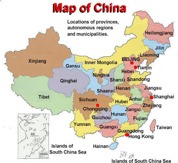 china map with administrative ...