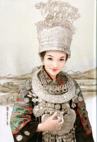 Women dress and accessories of China 56 ethnic groups ... Miao People Art